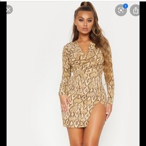 Cowl Neck Snake Print Dress